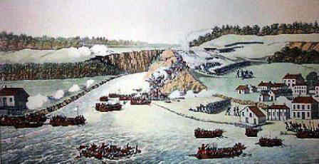 British troops crossing the river