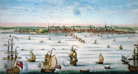 The Port of Boston in the mid 1700's