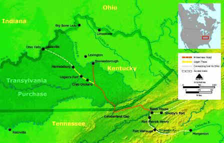 Map showing the  Cumberland Gap