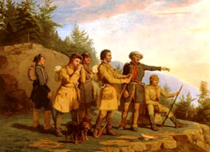 Daniel Boone leading Scots-Irish settlers in the Backcountry