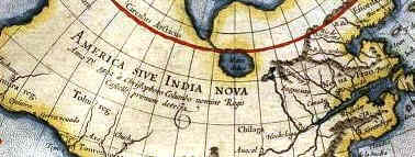 The Discovery of America - Larger view of Mercator's Map showing the name given to North America