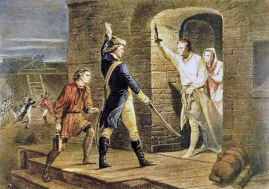 Ethan Allen demanding the surrender of Fort Ticonderoga