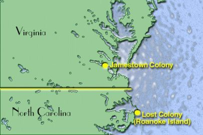 Map of Jamestown Colony, Virginia