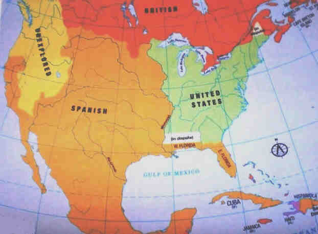 Treaty Of Paris - Map of us after revolutionary war