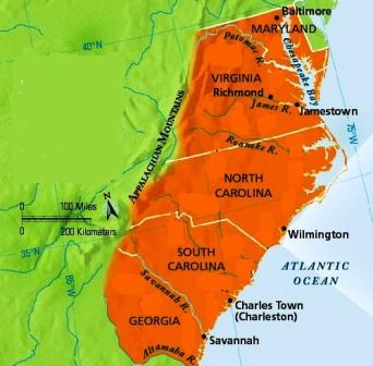 Map of the Southern Colonies and Jamestown - scene of Bacon's rebellion