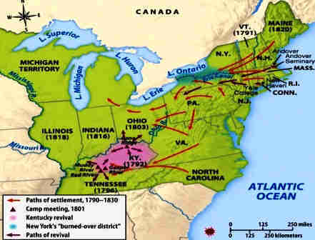 Map showing the spread of the 2nd Great Awakening