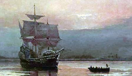 Mayflower Ship in harbor