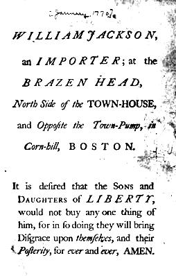 Nonimportation - notice by the Sons of Liberty against the merchant William Jackson