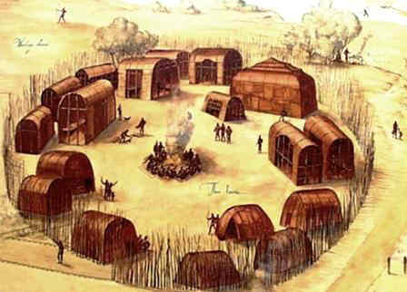 Native American Longhouse Village