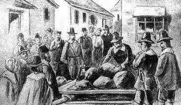 Salem Witch Trials - Giles Corey is pressed to death
