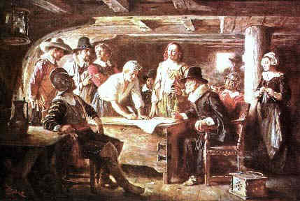 Signing the Mayflower Ship
